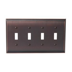 Amerock - Candler - Quadruple Toggle Wallplate in Oil Rubbed Bronze