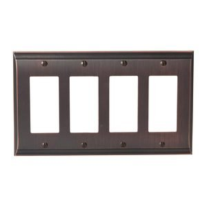Amerock Decorative Hardware - Candler - Quadruple Rocker Wallplate in Oil Rubbed Bronze