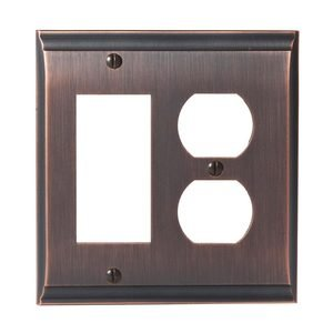 Amerock - Candler - Single Rocker/Single Outlet Wallplate in Oil Rubbed Bronze