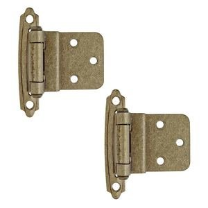 "Amerock - Burnished Brass Super Values - Self Closing Face Mount 3/8"" Inset Hinge (Pair) in Burnished Brass"