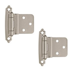 "Amerock Cabinet Hinges - Self Closing Face Mount 3/8"" Inset Hinge (Pair) in Sterling Nickel"