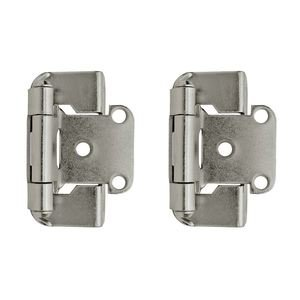"Amerock - Self-Closing Partial Wrap Around Cabinet Hinges - Self Closing Partial Wrap 1/2"" Overlay Hinge (Pair) in Nickel"