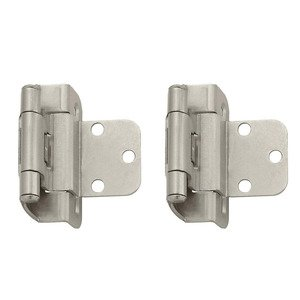 "Amerock - Self-Closing Partial Wrap Around Cabinet Hinges - Self Closing Partial Wrap 3/8"" Inset Hinge (Pair) in Satin Nickel"