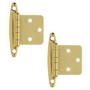 Amerock Cabinet Hinges - Non Self Closing Face Mount Variable Hinge (Pair) in Bright Brass