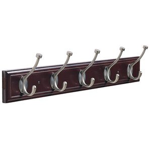 "Amerock - Hooks - 27"" Quintuple Hook Rack in Mahogany and Antique Silver"