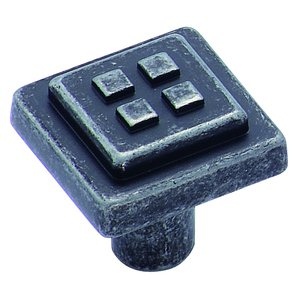 "Amerock - Forgings - Wrought Iron Dark Four Square 1 1/8"" Knob"