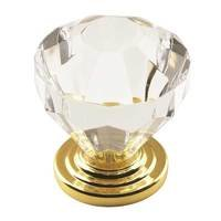 "Amerock - Luminous - 1 1/4"" Diameter Traditional Classics Knob in Acrylic and Burnished Brass"