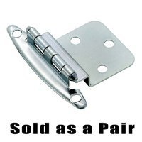 "Amerock - Non Self-Closing Face Mount Cabinet Hinges - 3/8"" Offset Overlay Hinge (Pair) in Polished Chrome"